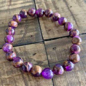 8mm Lavender Opal Bronzite Chakra Stretch Bracelet